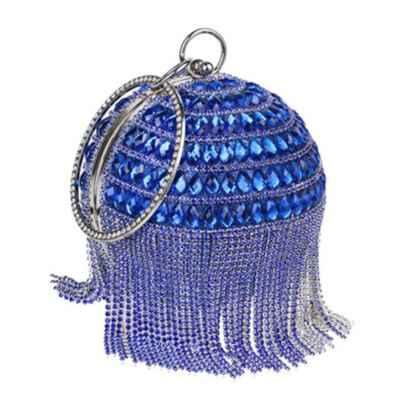 2018 Evening bags Roundness Clutches Women Luxury Crystal Evening Bags Tassel Party Bag Lady Wedding Clutch Bag Minaudiere top design red crystal evening bag roundness luxury clutch bags wedding party purse prom handbag silver banquet bag day clutches