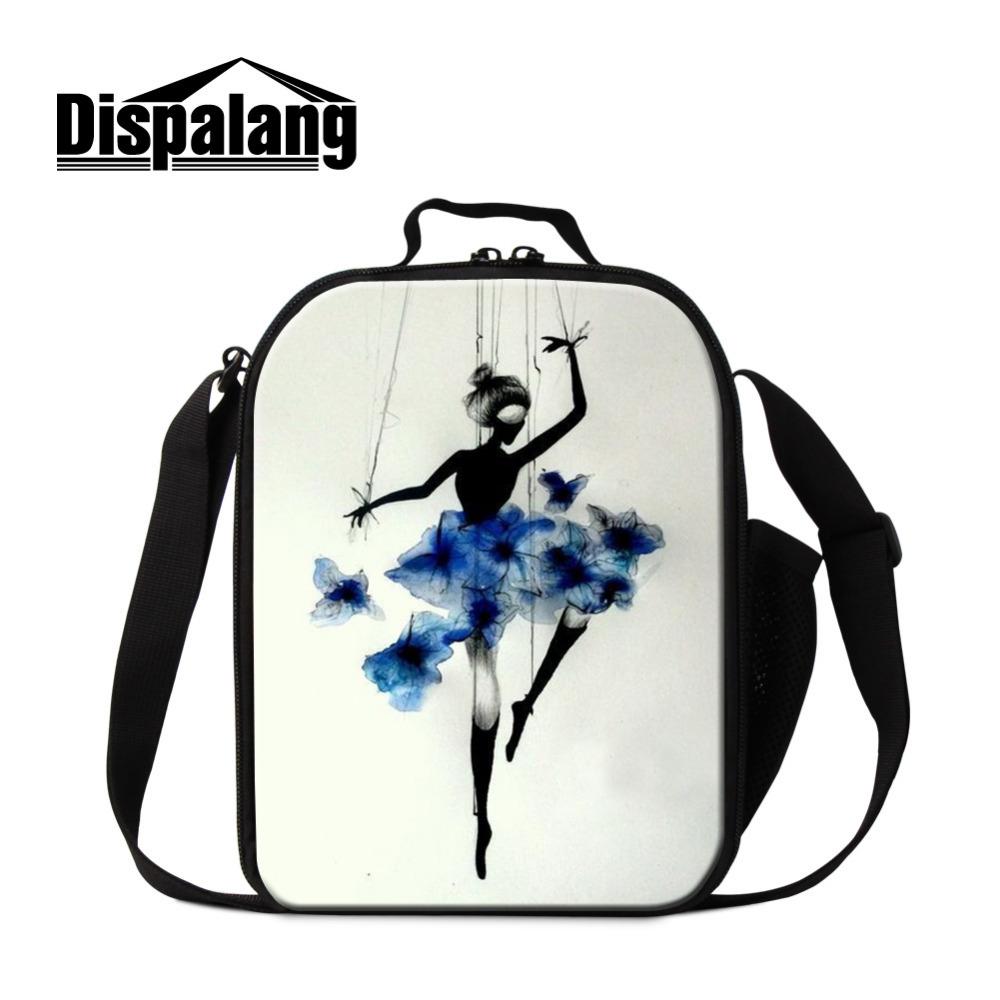 Dispalang Kids Lunch Bags Portable Insulated Art Ballet Printing Children Launch Box Women Small Work Food Bag For Office