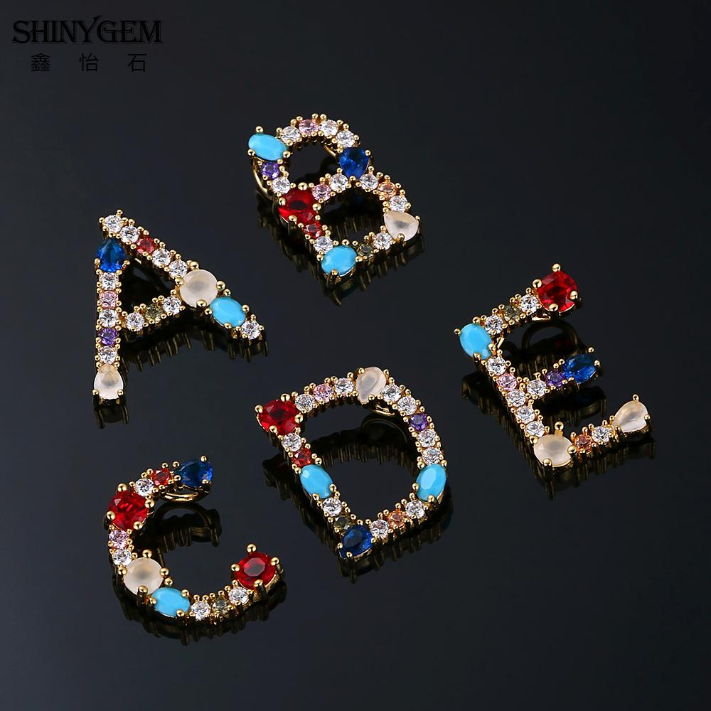 ShinyGem Rainbow 26 Letter Necklace Bohemian CZ Crystal Stone Necklace Personalize Golden A Z Letter Pendant Necklaces For Women in Pendant Necklaces from Jewelry Accessories