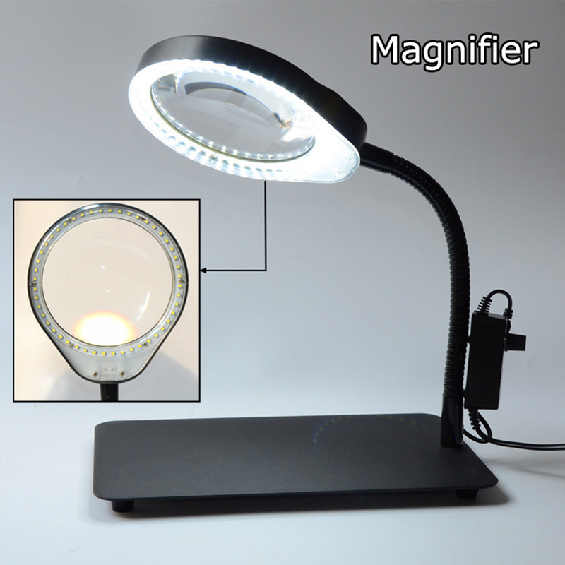 New upgrade multiple optional Desk magnifier lamp 8X 10X Maintenance reading Dimmable Illuminated magnifying glass new universal desktop magnifier usb with led light 10x for maintenance reading micro engraving magnifying glass