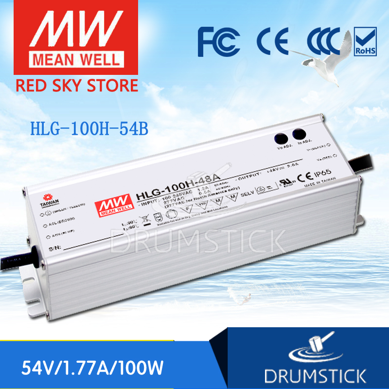 100% Original MEAN WELL HLG-100H-54B 54V 1.77A meanwell HLG-100H 54V 95.58W Single Output LED Driver Power Supply B type [Real6] genuine mean well hlg 320h 54b 54v 5 95a meanwell hlg 320h 54v 321 3w single output led driver power supply b type