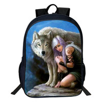 2017 Fashion Oxford 16-Inches Printing European Style Animal Wolf Tennage School Bags for Boys Schoolbag Backpack for Women Bag