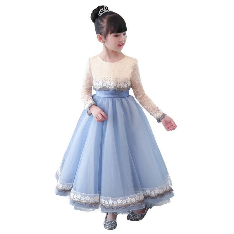 Kids Children Evening Birthday Party Wedding Formal Dress Girl Flower Princess Lace Long Dress Girls Pageant Ball Gown Dress E99 kids girls flower dress baby girl butterfly birthday party dresses children fancy princess ball gown wedding clothes