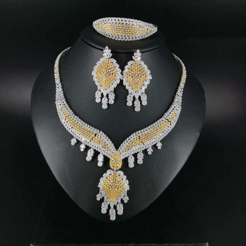 2019 new fashion luruxy crystal CZ zircon golden necklace earring bracelet ring wedding bride banquet dressing party jewelry set2019 new fashion luruxy crystal CZ zircon golden necklace earring bracelet ring wedding bride banquet dressing party jewelry set