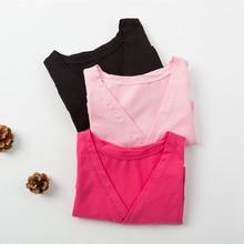 Girls Ballet Dance Top Long Sleeve Cotton Fitness Gymnastics Wear Practice Dancewear Black Pink Bright pink colors3220