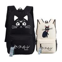 Anime Sailor Moon Kawaii Cat Luna Emoji Printing Women Backpack Mochila Feminina Canvas School Bags Laptop
