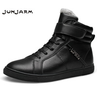 JUNJARM Brand Ankle Snow Boots Men Shoes 100 Genuine Leather Winter Warm Velvet Fashion Cow Motocycle