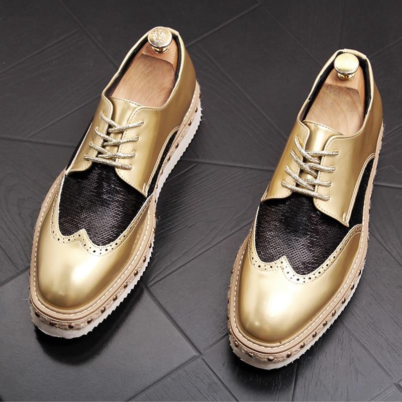 Image 2 - 영국 스타일 망 파티 나이트 클럽 착용 밝은 특허 가죽 수소 신발 새겨진 브로 구 옥스포드 신발 청소년 플랫폼 스 니 커 즈-에서남성용 캐주얼 신발부터 신발 의