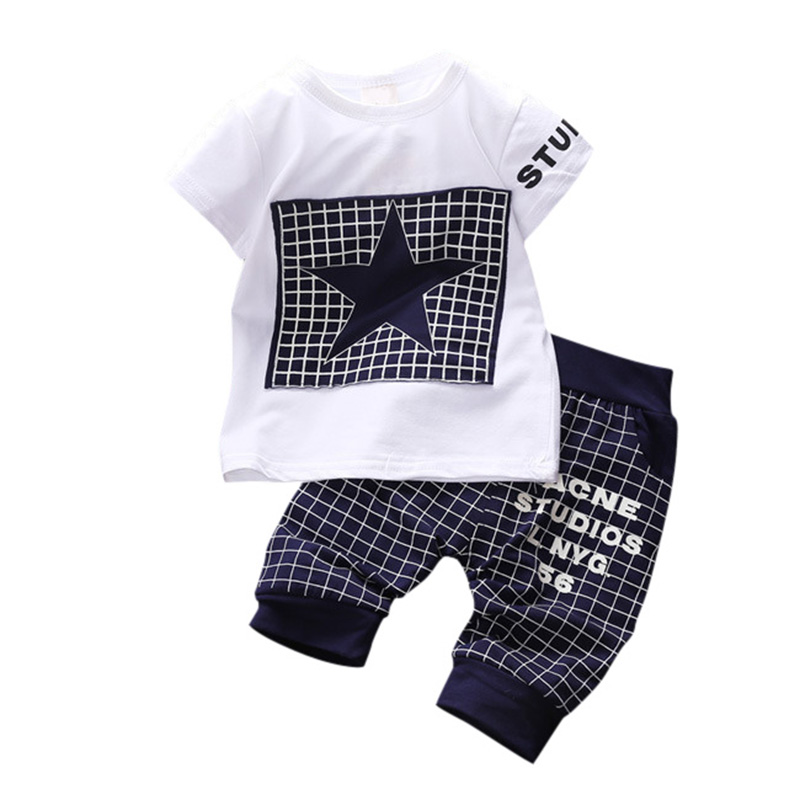2017 2Pcs Baby Boys Suit Short Sleeve Star T-shirt Tops + Pants Outfits Kids Toddler Clothes