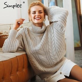 Simplee фонарь рукав свитер и пуловер для женщин 2018 осень зима свитер с высоким воротом свободная повседневная женская джемпер