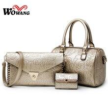 3 Pcs Set Women font b Leather b font font b Handbags b font Ladies Messenger