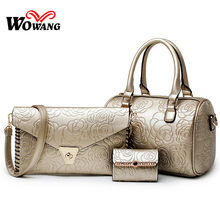 3 Pcs/Set Women Leather Handbags Ladies Messenger Bags Vintage Tote Purse Clutch Shoulder Crossbody bag Top-Handle Bag Bolsas