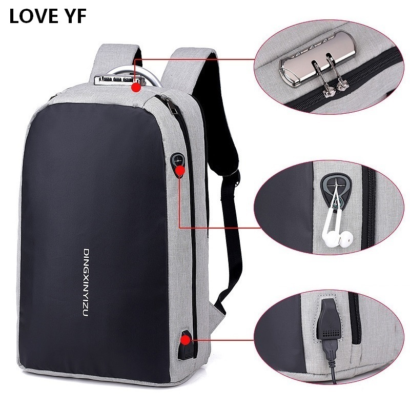New Teenager Campus backpack Student multifunctional anti-theft password lock school bag Business travel waterproof rucksack image