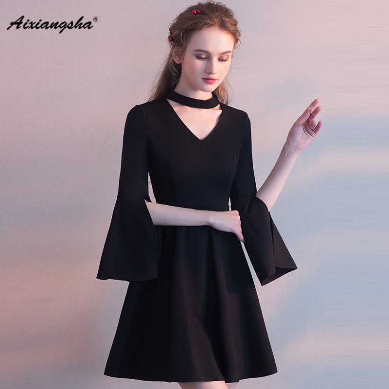 2018 New arrival Black Long Sleeves V-Neck Knee-Length Appliques A-line Lace Elegant   Prom     Dresses   Customized With Choker