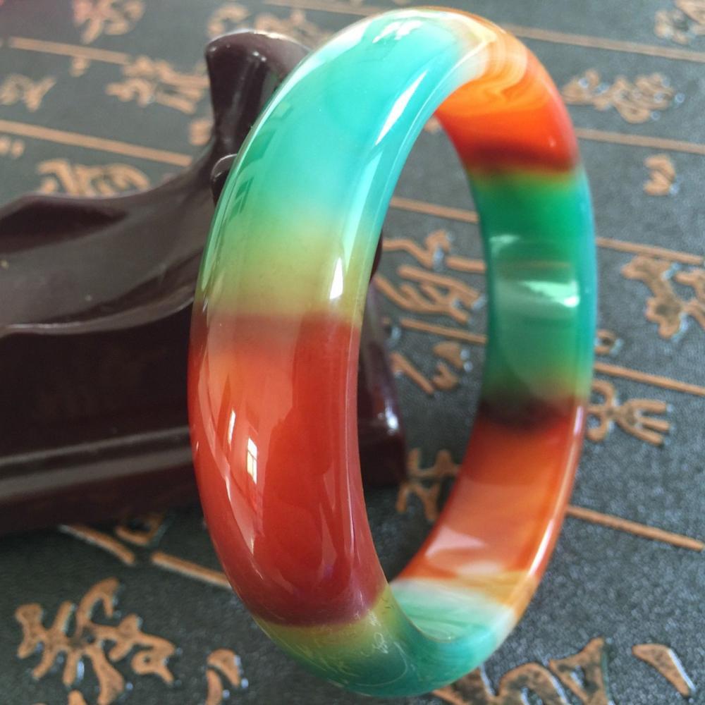 Genuine Asia Red//Green Natural Agate Jade Bangle Bracelet 60-62mm