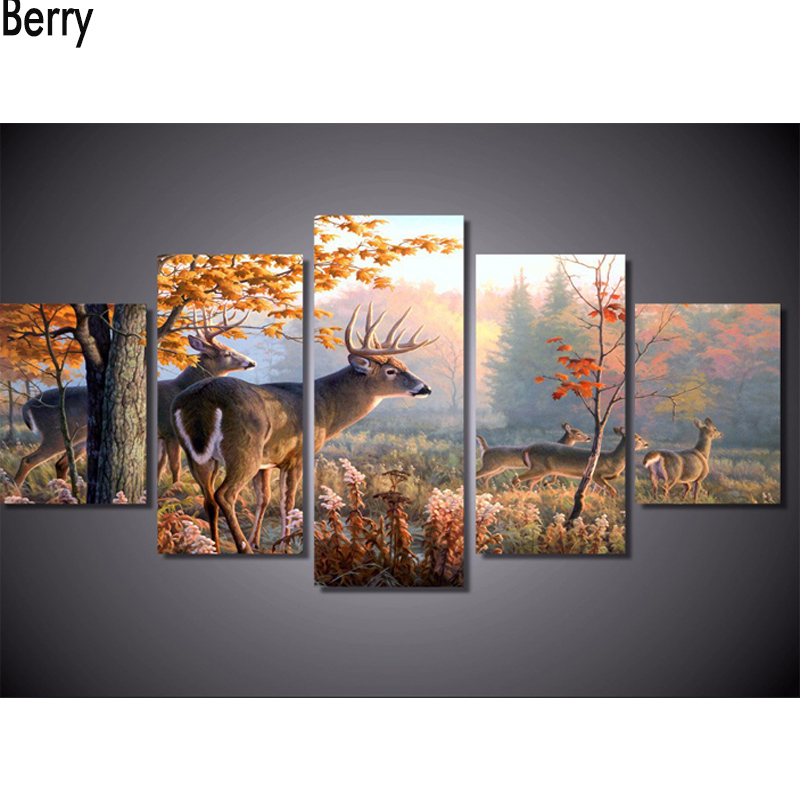 5 Pcs Diamond Embroidery 5D DIY Diamond Painting Deer Forest Leaves Diamond Painting Cross Stitch Scenic