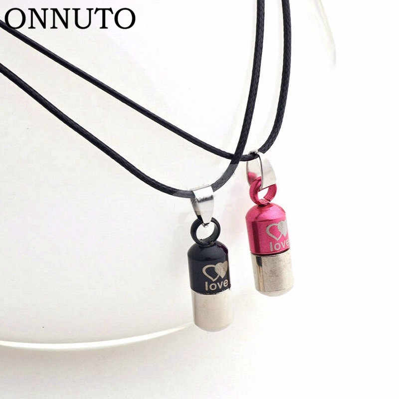Hot Sale Classic Pendant Necklace Space Popular Stainless Steel Leather Necklace Capsule Pill Shape Vintage Necklace