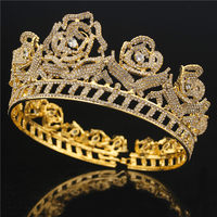 Bride Tiaras Crowns Headdress Flower Rhinestone Headband Queen Diadem Prom Pageant Hair Jewelry Bridal Wedding Hair accessories
