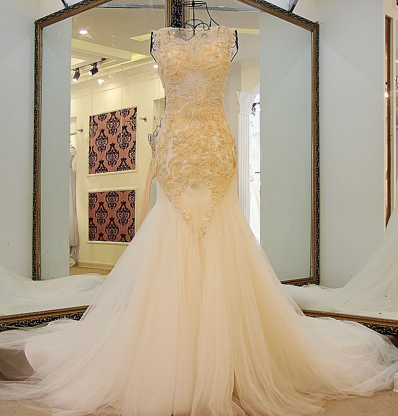 Online get cheap champagne wedding dresses for Cheap champagne wedding dresses