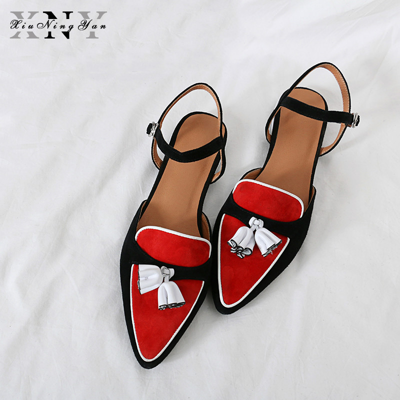 XiuNingYan Luxury Womens Sandals Genuine Leather Party Shoes Women Summer Shoes Buckle Chunky Heel Ladies Slides Female SandalsXiuNingYan Luxury Womens Sandals Genuine Leather Party Shoes Women Summer Shoes Buckle Chunky Heel Ladies Slides Female Sandals