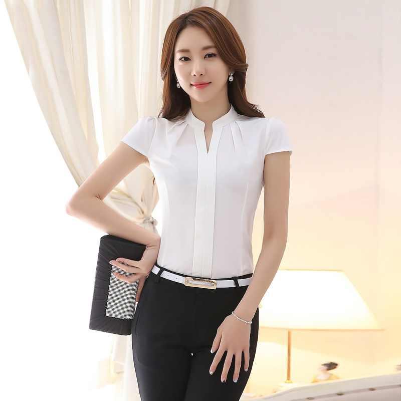 486cab6e4b59 Blusa de gasa Blanca Rosa para mujer 2018 de manga corta elegantes camisas  de oficina para damas moda coreana Casual ajustado mujeres Tops Blusas