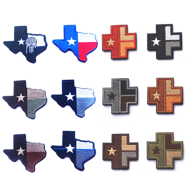 Entertainment Memorabilia 3d Texas Flag Texas Topographic Map Cross Medical Chapter Embroidered Patch Military Morale Badge Armband Cloth Fashion Badges Distinctive For Its Traditional Properties