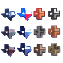 3D Texas flag Topographic Map Cross Medical Chapter Embroidered Patch Military Morale Badge Armband Cloth Fashion Badges