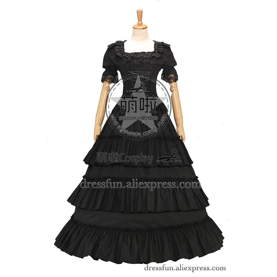 Gothic Black Wedding Dresses Plus Size Ball Gowns Puffy: Elegant Victorian Gothic Lolita Ball Gown Puff Sleeve Lace