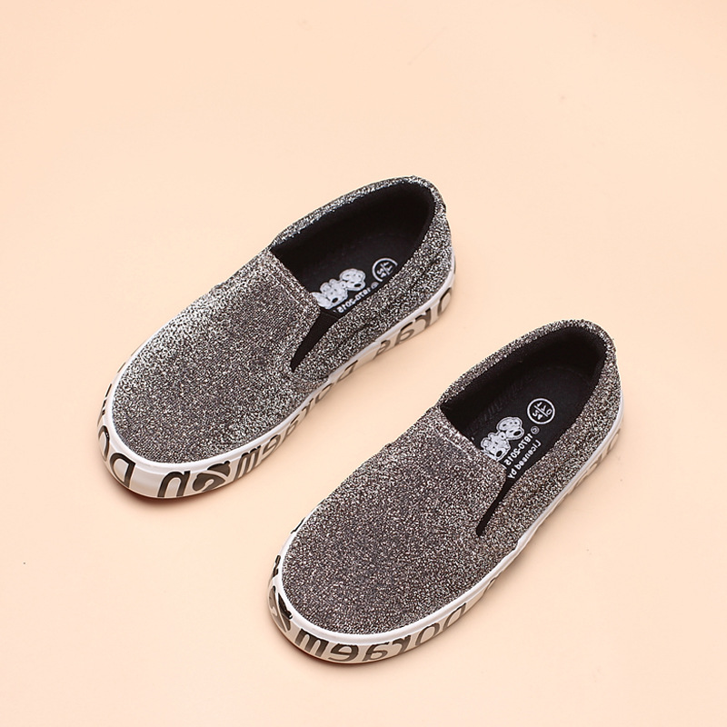 2016 spring fashion kids shoes boys girls shoes casual slip on loafers shine children sneakers casual princess shoes