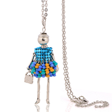 beaded necklaces for girls free shipping long link chain necklaces fashion 2016 statement necklaces fine jewelry doll pendant