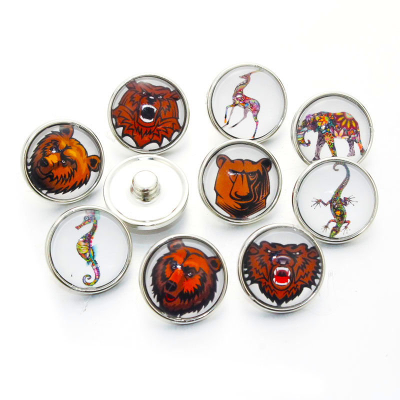 10pcs/Lot Mixed Pattern Bear Multi Color Glass Charms 18mm Snap Button Jewelry For 18mm Snaps Bracelet Snap Jewlery C12