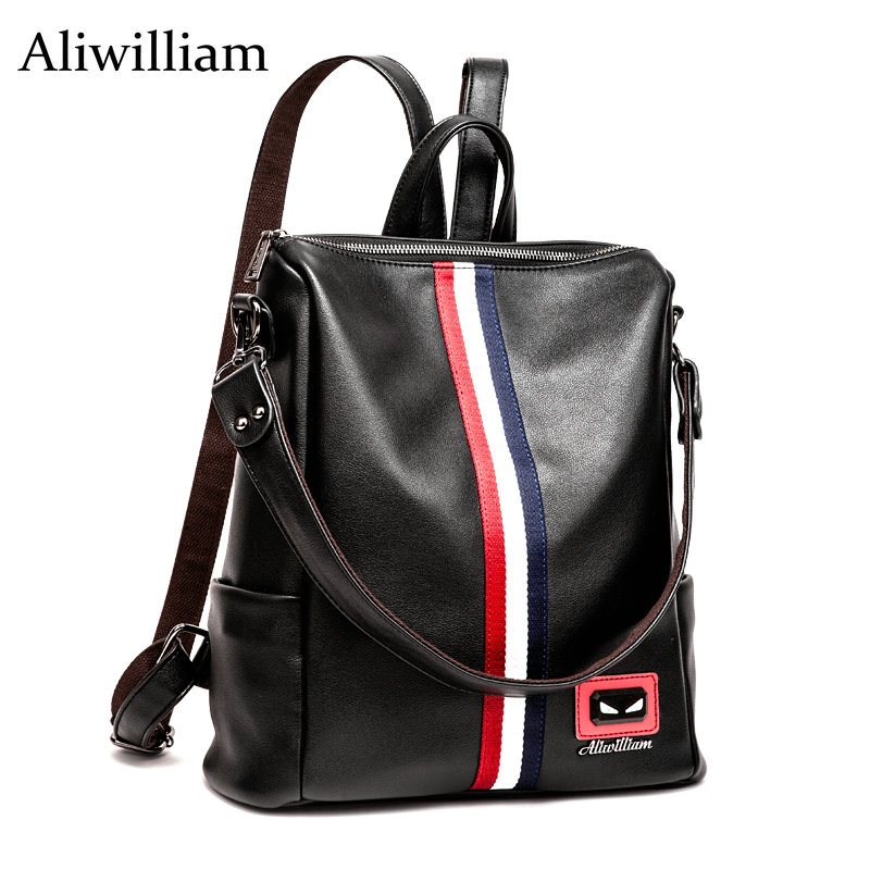 Aliwilliam Famous Cowskin Backpack Women Leather Bag Women Travel Bag Genuine Leather Women Backpack Mochila Feminina