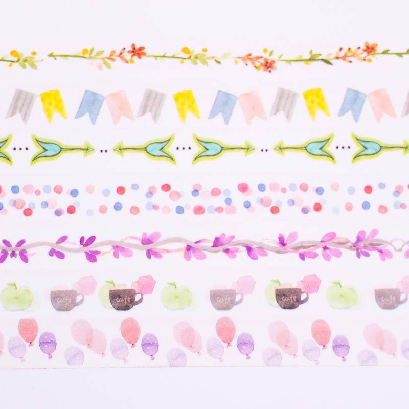 3PCS/Lot Mixed Color Japanese Washi Tape set Pastel Decorative Adhesive Tape Stoch Masking Paper Tapes
