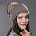 Invierno de las mujeres sombrero de lana de punto gorros cap real natural fox pompón de piel sombreros de colores sólidos gorros de esquí cap causal femenino sombrero