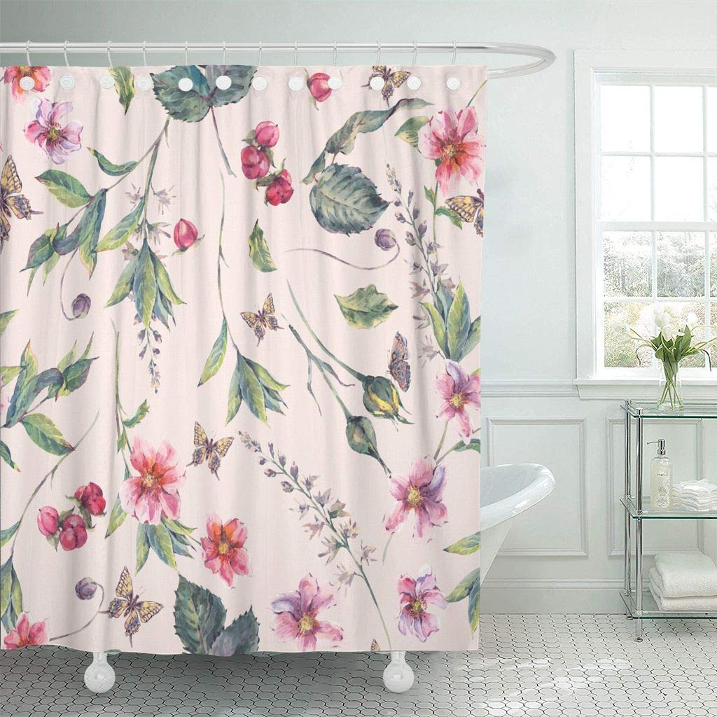Fabric Shower Curtain Watercolor Vintage Floral With Pink Wildflowers And Butterflies Natural Botanical Bathroom Curtains Buy At The Price Of 16 81 In Aliexpress Com Imall Com