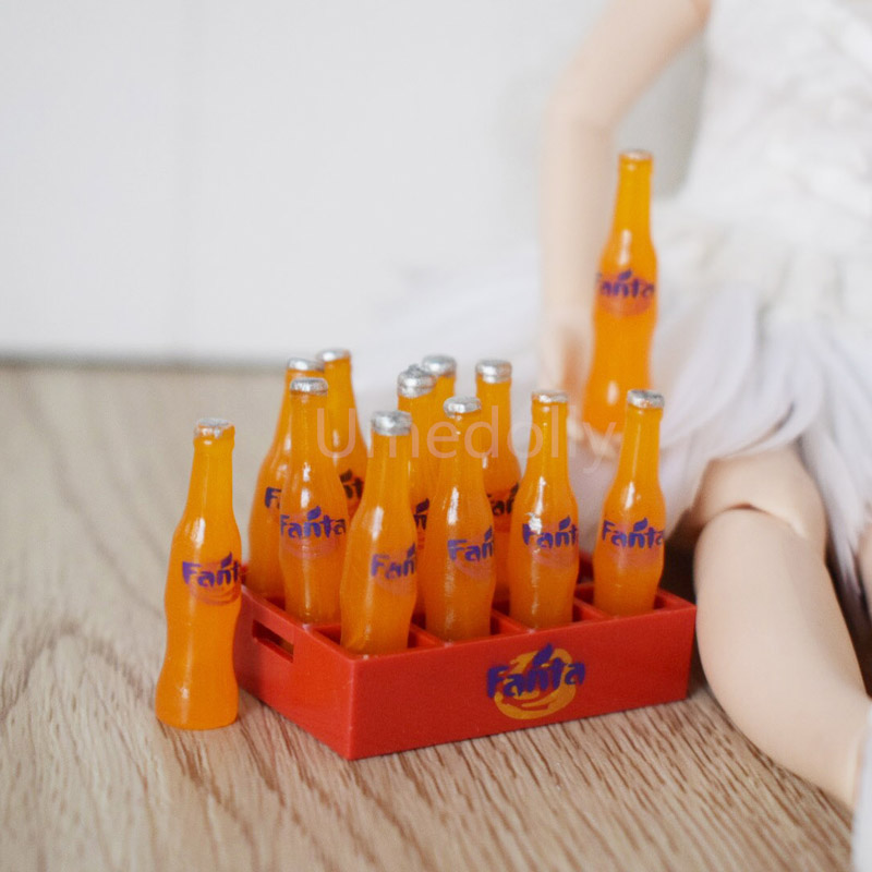 1 Dutzend 12 Flaschen 1:12 Puppenhaus Miniatur Puppe Lebensmittel Fanta Soda Trinken Zubehör Für Blyth Bjd Puppe