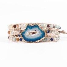Для женщин браслет из натурального камня Кожа обёрточная Бумага браслет полудрагоценный камень бисером браслет Мала Прямая доставка