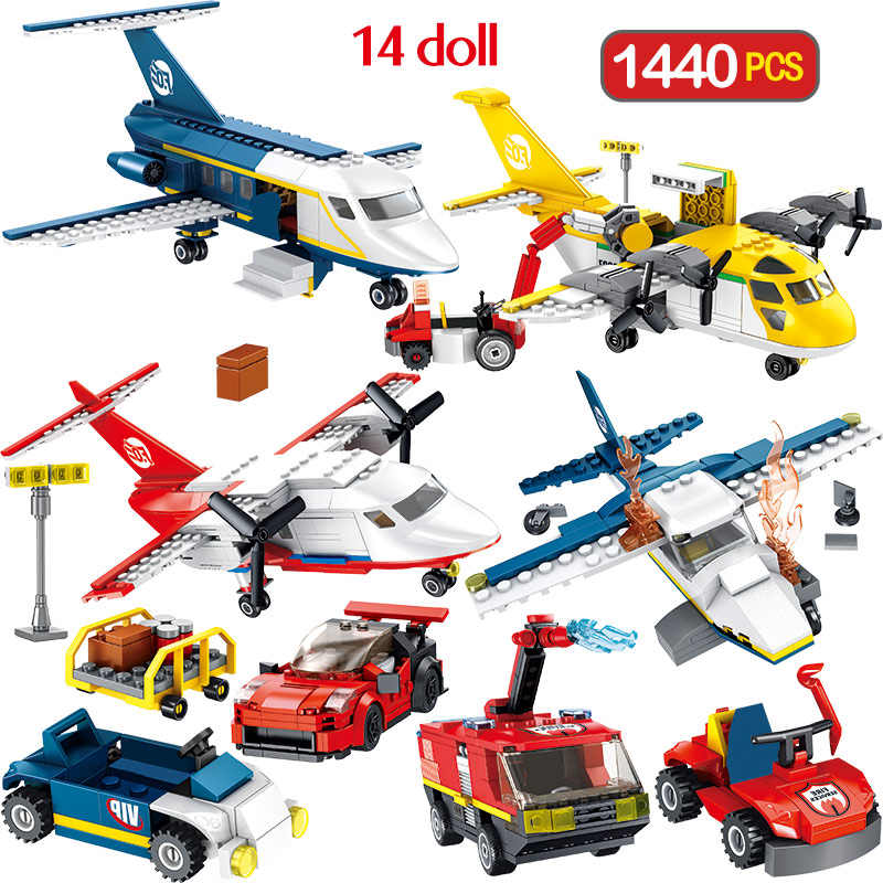 1440PCS New Technic Fire Police Car Set Blocks Compatible City Jet Plane Toys Airport Brigade Bricks For Children