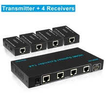 1×4 HDMI Extender Splitter 60m 1080P 196ft 4 Port HDMI Extneder Splitter 1 to 4 over utp cat5/cat6 Ethernet cable