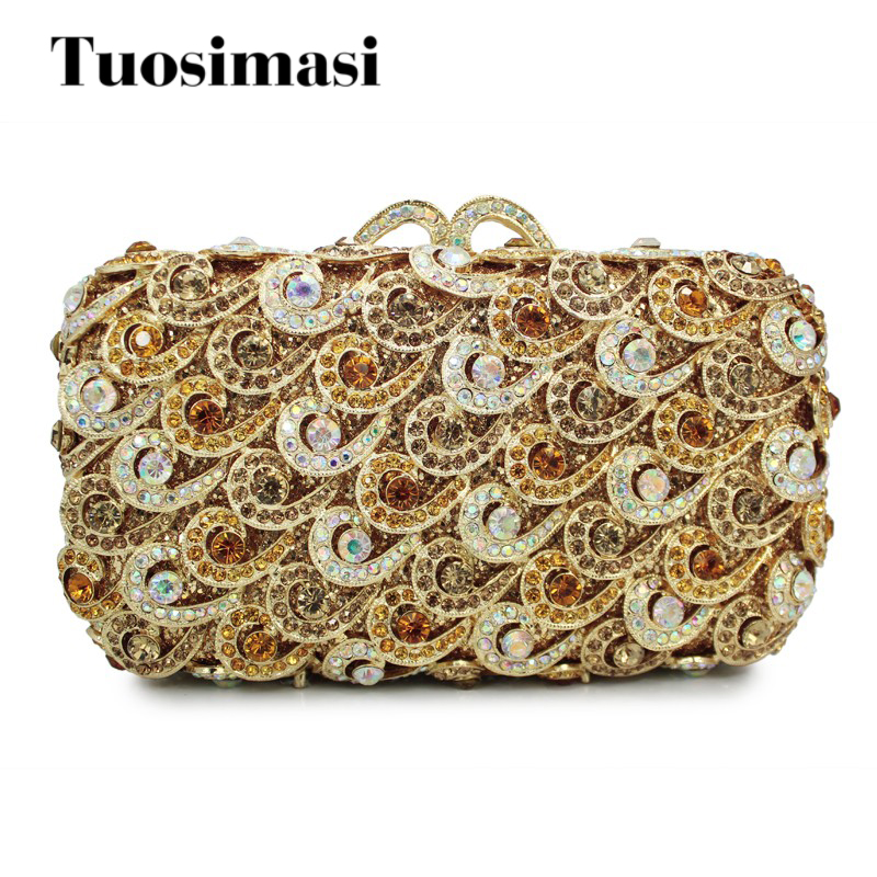 gold new diamond crystal clutch evening bag ladies handbag evening bags (88161A-G) g sellars an evening idyl