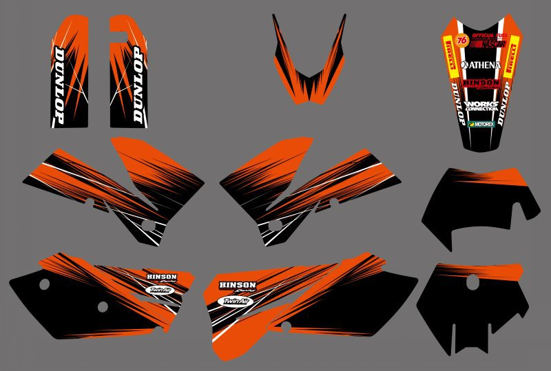 Parts & Accessories Full Set Team Graphics For KTM EXC XCF 200 250 300 350 400 450 500 525 2008-2011 Decals, Emblems & Flags