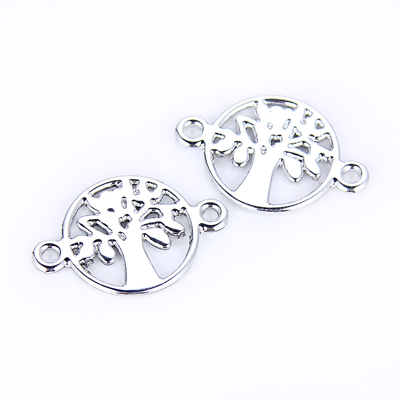TJP 30pcs Tree Round Connectors Charm Pendants Hollow Open for DIY Bracelet Jewelry Making Findings White in Jewelry Findings Components from Jewelry Accessories