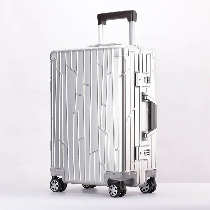 LeTrend 100% lega di Alluminio magnesio Trolley Spinner Degli Uomini di Affari Valigia Ruote 20 inch Cabina Trolley Da Viaggio Borsa Da Viaggio-in Valigie da Valigie e borse su  Gruppo 3