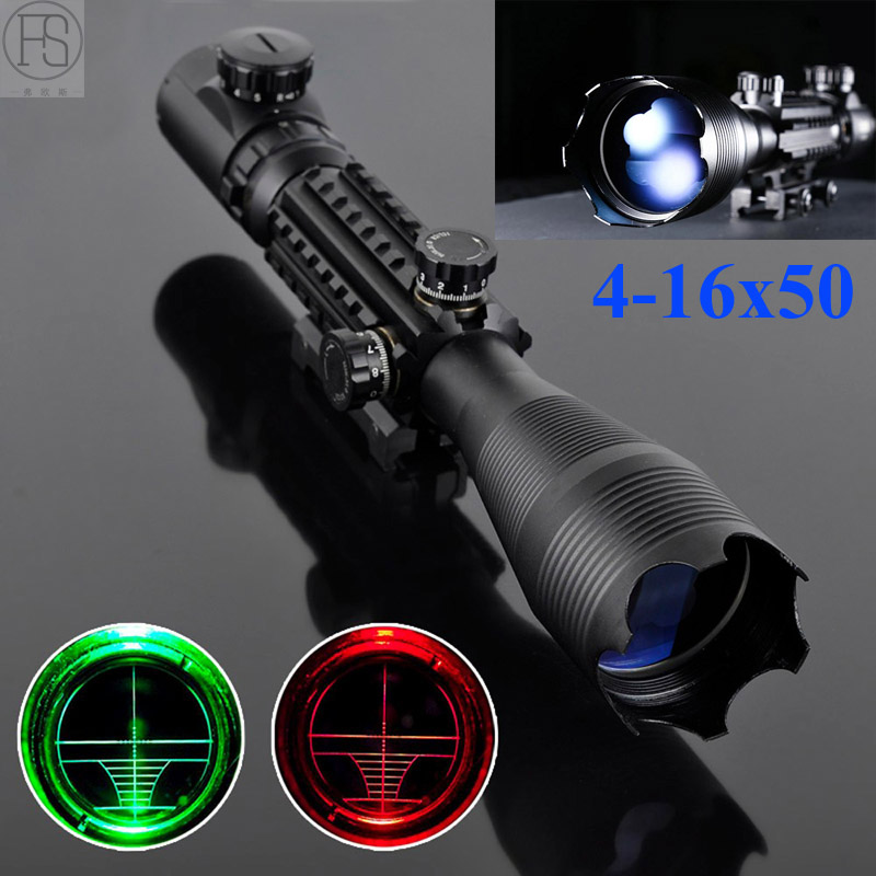 все цены на 4-16x50 Red Green Illuminated Reticle Tactical Riflescope Hunting Sight Fit For 20MM Rail Sniper Scope Sport Airsoft Rifle Scope онлайн