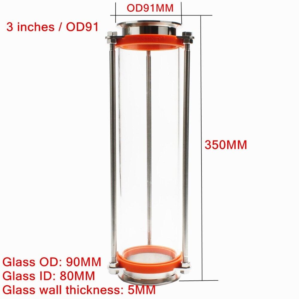 304 acier inoxydable 3 pouces/OD91 Tri pince trèfle Sanitay débitmètre dioptrie de verre avec une plus grande taille-in Moulins from Maison & Animalerie    1