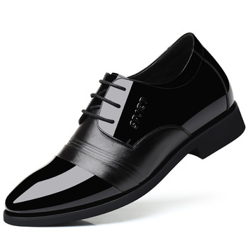 8080 New Cowhide Leather Shoe Soft Bottom Height Increase Breathable Non-slip Soft  Men's Wedding Shoes Leisure Men's Shoes