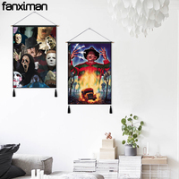Decorative Wall Hanging Paintings Canvas Tapestry Horror Movie Characters Jason Freddy Fabric Pictures Cotton Linen Painting
