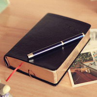 1pcs Lot Vintage Thick Notebook Bible Diary Book Black Retro PU Cover Golden Edge 320 Sheets