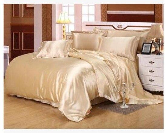 Silk Bedding set Satin Super king size queen full double camel tan duvet cover fitted bed sheet linen bedspread quilt doona 6pcs