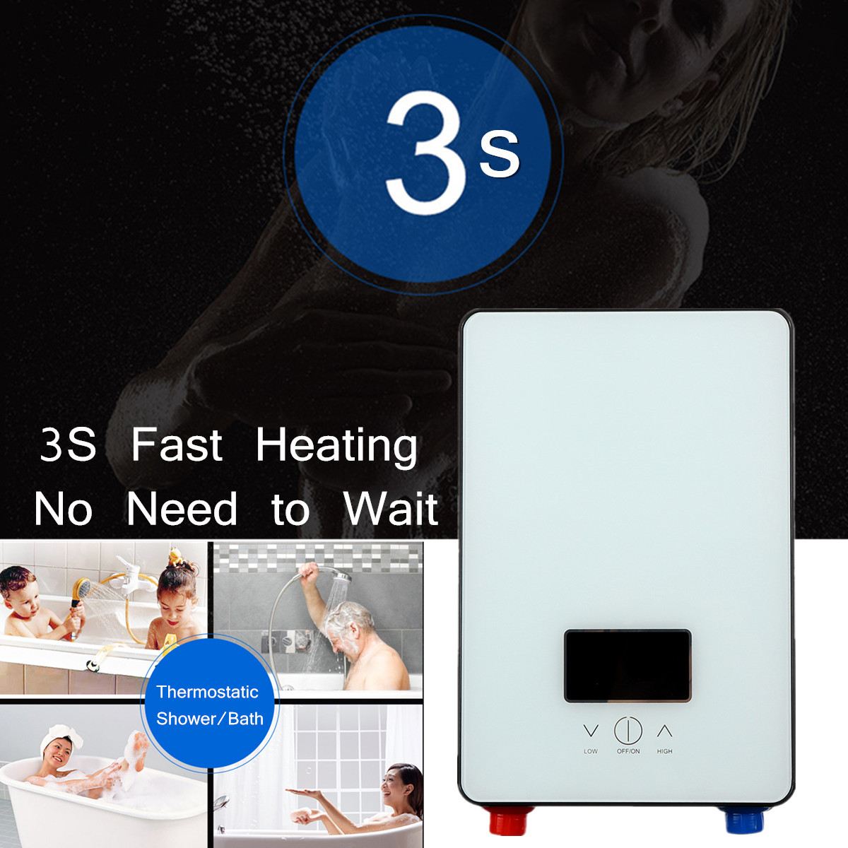 Bathroom 6500W 220V Electric Tankless Instant Water Heater Temperature Self-checking Automatically Safety White Thermostat LCD dsk 65 high quality instant tankless water heater 6500w 220v thermostat induction heater smart touch electrical shower heaters